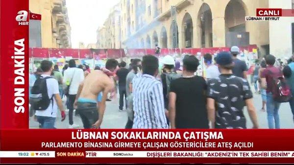 Son dakika! Lübnan'da parlamento binasına girmeye çalışan öğrencilere ateş açıldı! | Video