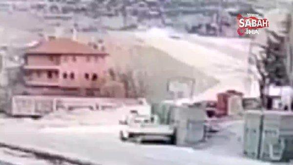 Hemşirenin otomobiliyle 30 metreden bahçeye böyle uçtuğu anlar kameralara yansıdı