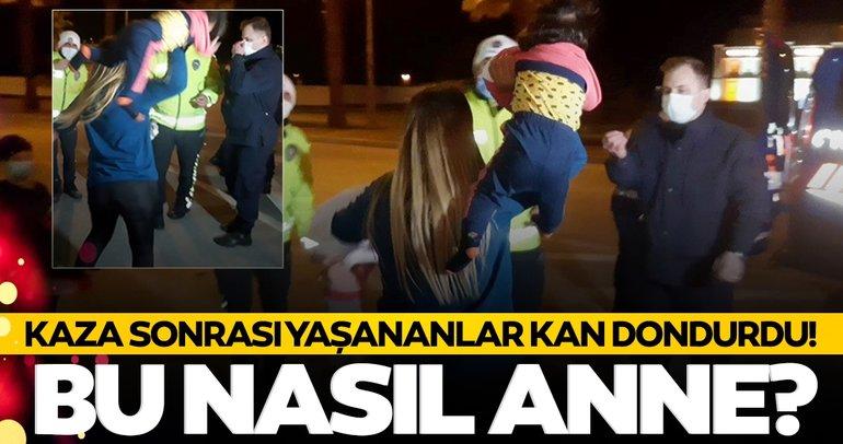 Son dakika: Antalya'da şok görüntüler! Kaza yapan anneden kan donduran hareket
