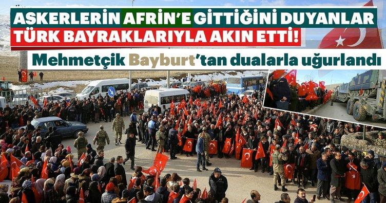 Afrin'e giden askeri birlik Bayburt'tan dualarla uğurlandı!