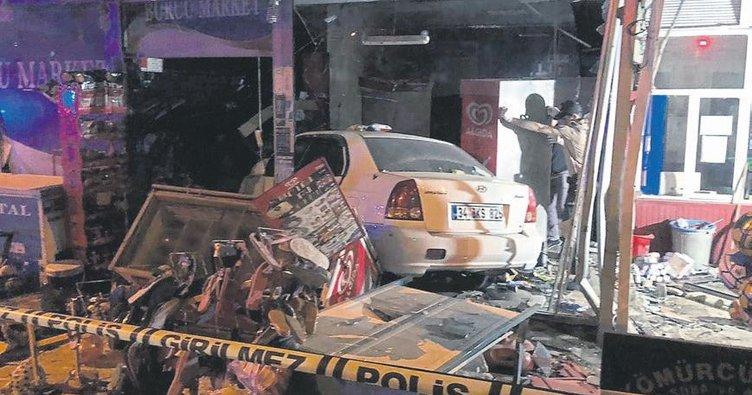 2 kişiye çarpıp markete daldı