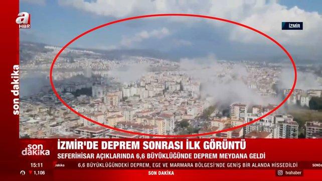 Son dakika! İzmir'deki 6,6 büyüklüğündeki deprem anı kamerada | Video