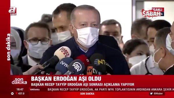 Son dakika haberi: Başkan Erdoğan'dan aşı sonrası hastane önünde ilk açıklama | Video