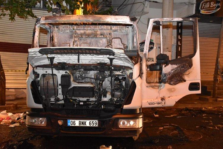 Diyarbakır'da Bağlar Belediyesine ait hizmet aracı yakıldı