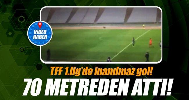 TFF 1. Lig'de inanılmaz gol! 70 metreden attı