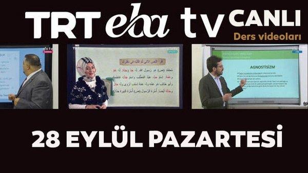 TRT EBA TV izle! (28 Eylül Pazartesi) Ortaokul, İlkokul, Lise dersleri 'Uzaktan Eğitim' canlı yayın: EBA TV ders programı | Video