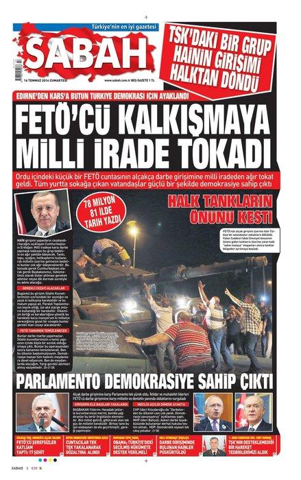 Türkiye 15 Temmuz darbe girişimini SABAH manşetlerinden okudu