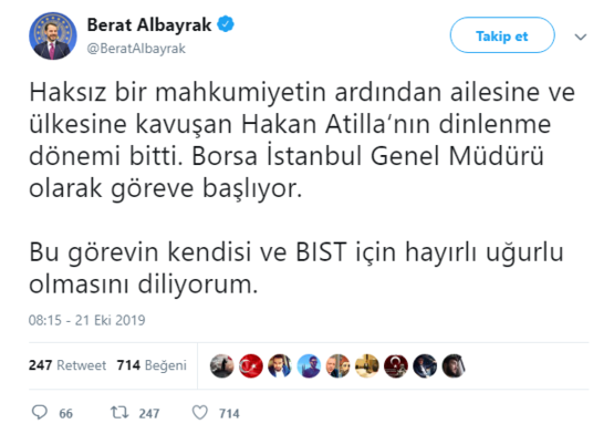 Bakan Albayrak açıkladı: Hakan Atilla Borsa İstanbul Başkanı oldu