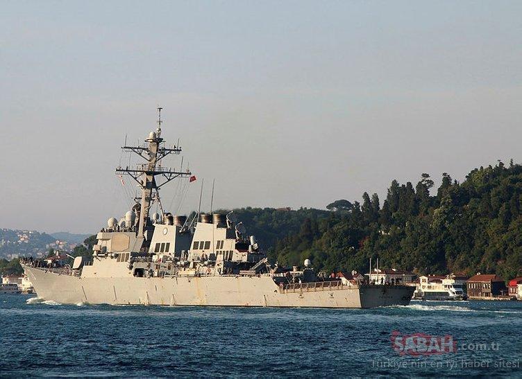 ABD savaş gemisinin İstanbul Boğazı'ndan geçişinde dikkat çeken detay