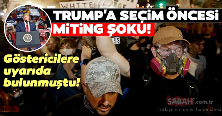 Göstericilere uyarıda bulunmuştu! Trump'a seçim öncesi miting şoku