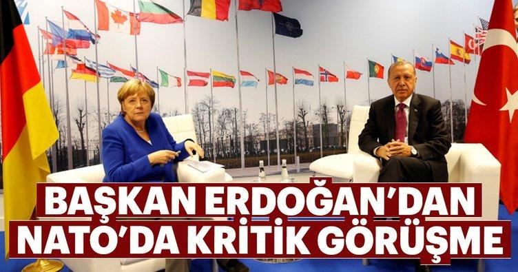 Son dakika: Kritik NATO zirvesinde Erdoğan- Merkel görüşmesi gerçekleşti