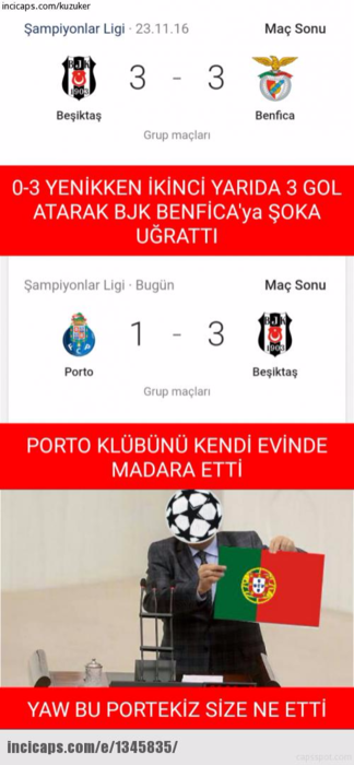 Porto - Beşiktaş maçı capsleri