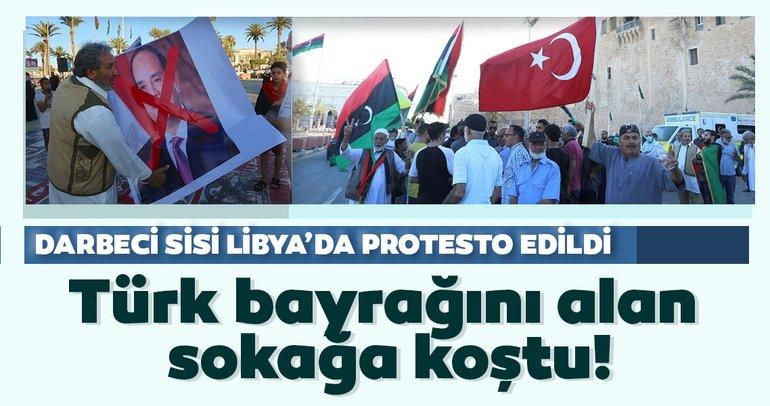 Libya'nın başkenti Trablus'ta, Sisi'ye karşı Libya ve Türk bayraklı gösteri