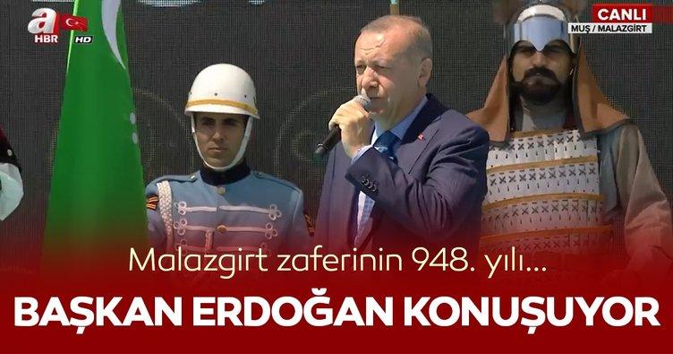 Başkan Erdoğan Malazgirt'te konuşuyor