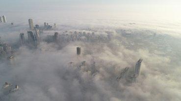 İstanbul sisli bir güne uyandı... Muhteşem manzara havadan görüntülendi