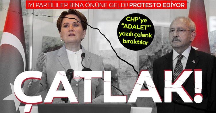 Millet İttifakı'nda çatlak! İYİ PARTİ'liler bina önüne ADALET yazılı çelenk bıraktı