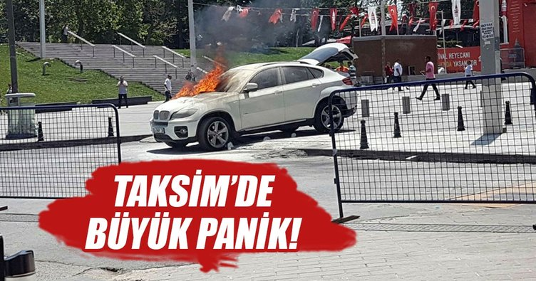 Taksim'de panik anları: Lüks cip alev alev yandı