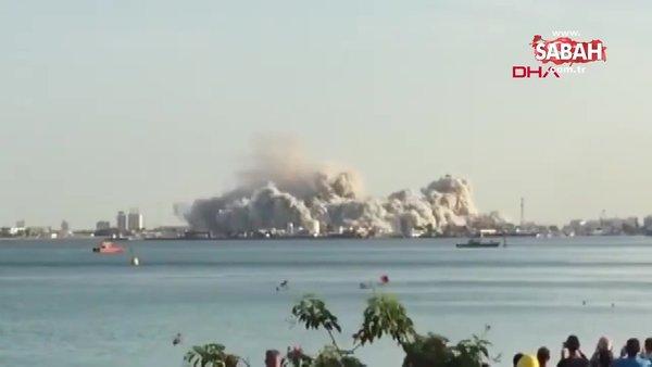 Abu Dabi'deki 144 katlı gökdelen böyle yıkıldı | Video