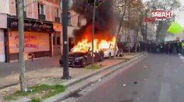 Fransa'da ortalık yine karıştı! Protesto gösterilerinde otomobiller yakıldı
