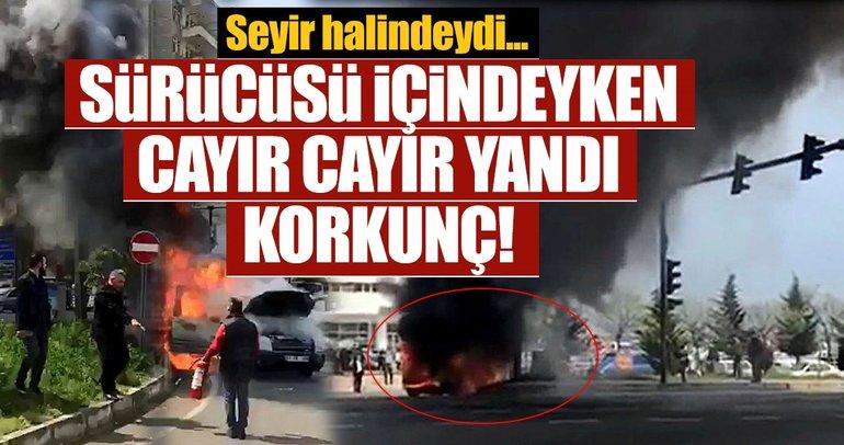 Son dakika: Trabzon'da seyir halindeki araç yandı, sürücü canını zor kurtardı