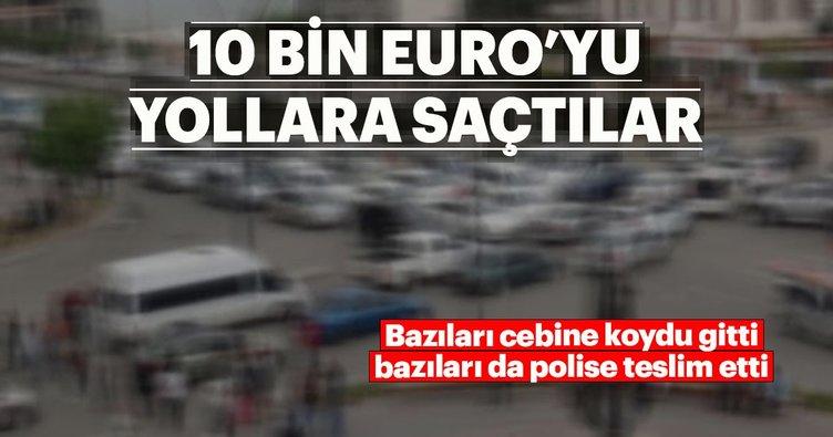 İstanbul'da yola saçılan dövizleri vatandaşlar topladı