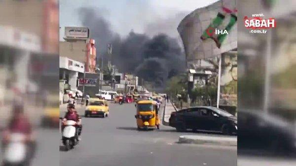 Son dakika! Bağdat'ta pazar yerinde bombalı araçla saldırı. İşte ilk görüntüler   Video