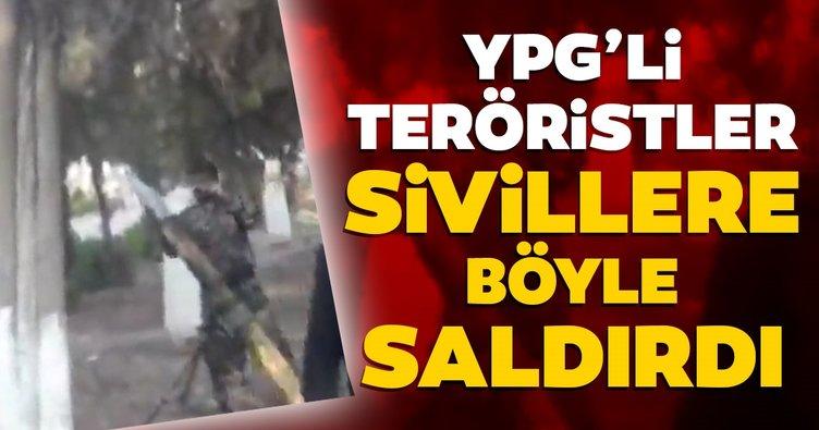 İşte PKK/YPG'li teröristlerin sivillere saldırı anı!
