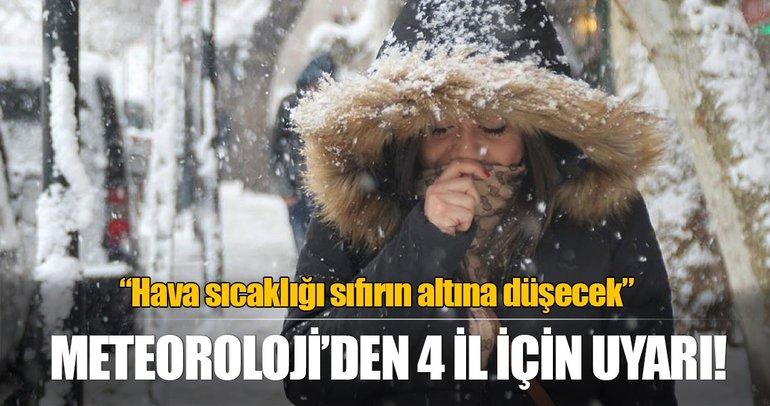 Meteorolojiden 4 il için karla karışık yağmur uyarısı