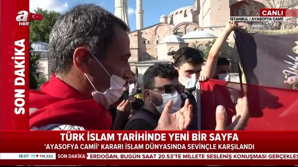 Ayasofya Camii önünde büyük coşku | Video