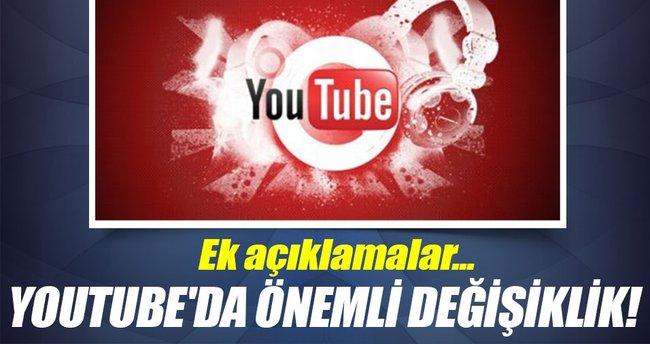 YouTube'da önemli değişiklik!