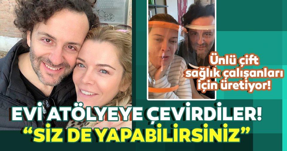 Begüm Kütük ve eşi Erdil Yaşaroğlu evlerini atölyeye çevirdi! Begüm Kütük ve eşi sağlık çalışanları için 3 boyutlu siperlik üretmeye başladı!