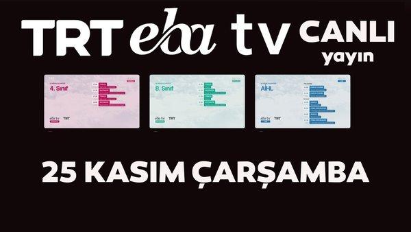 TRT EBA TV izle! (25 Kasım Çarşamba) Ortaokul, İlkokul, Lise dersleri 'Uzaktan Eğitim' canlı yayın: EBA TV ders programı | Video