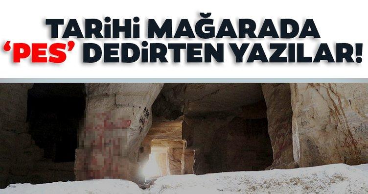 Tarihi mağaranın duvarları yazı tahtasına dönüştürüldü