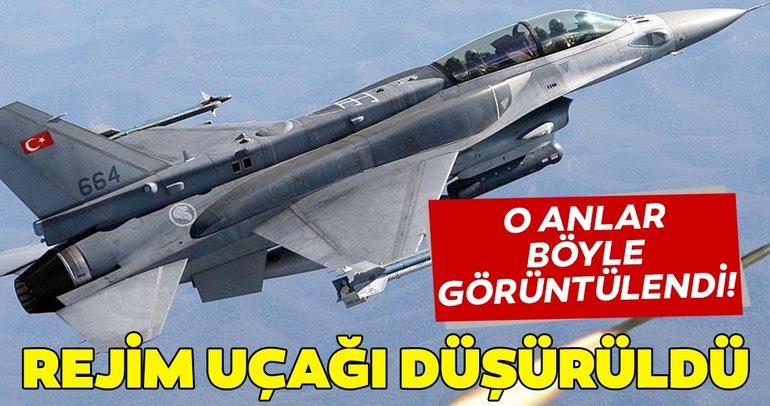 SON DAKİKA... MSB: Rejime ait bir savaş uçağı düşürüldü! Rejim uçağının düşüş anı böyle görüntülendi!