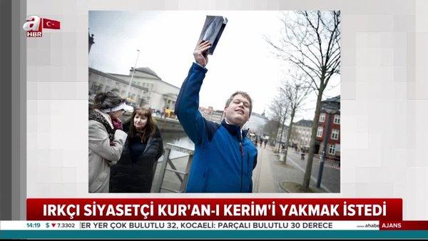 İsveç'te cami önünde Kur'an-ı Kerim yakmak isteyen aşırı sağcı politikacıya izin verilmedi   Video