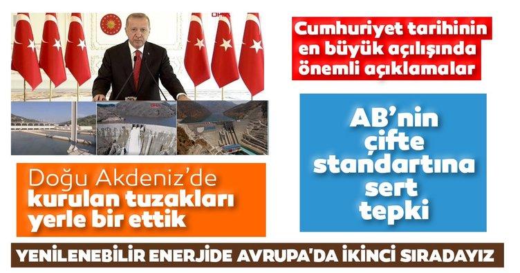 Son dakika | Başkan Erdoğan Cumhuriyet tarihinin en büyük açılış töreninde konuştu
