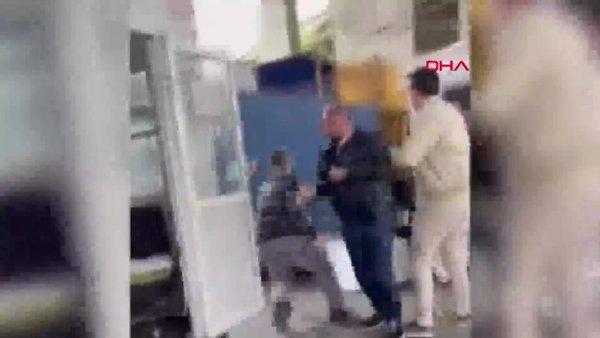 İstanbul'da müşteri ile kargocu arasındaki kavga kamerada