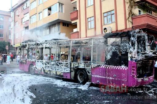 Son dakika: Gaziosmanpaşa'da halk otobüsü alev alev yandı