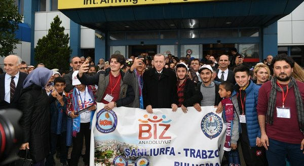 Trabzon'dan Cumhurbaşkanı Erdoğan'a görkemli karşılama