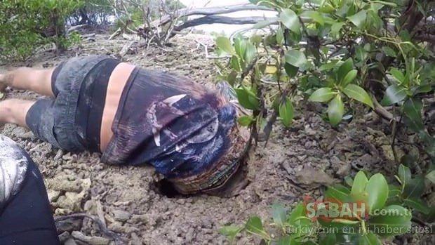 Toprağın altına girdi ve...