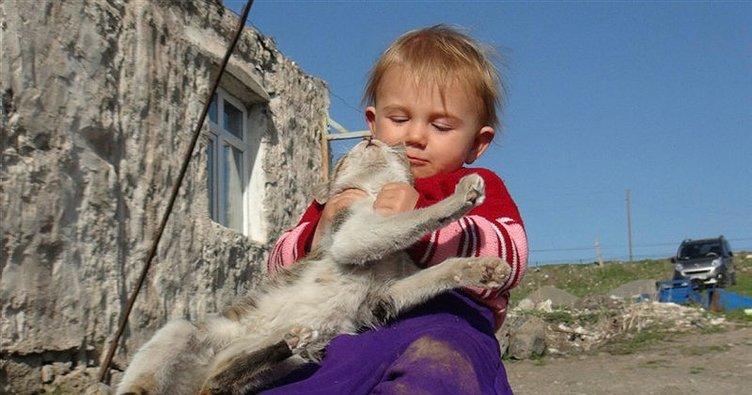 Minik Meryem'in oyun arkadaşı kedi