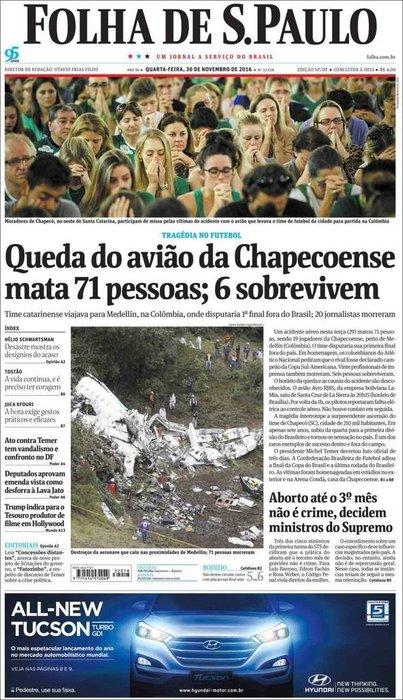 Chapecoense'nin ardından gazete manşetleri