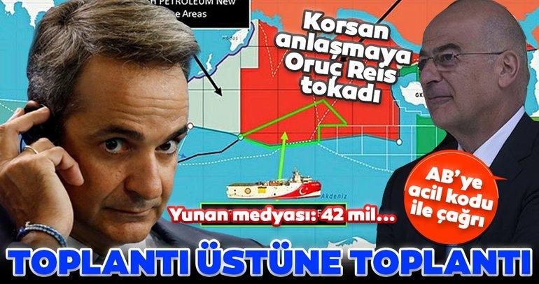 Son dakika: Yunanistan'da toplantı üstüne toplantı! Korsan MEB anlaşmasına Oruç Reis tokadı! AB'ye 'Acil' kodu ile çağrı