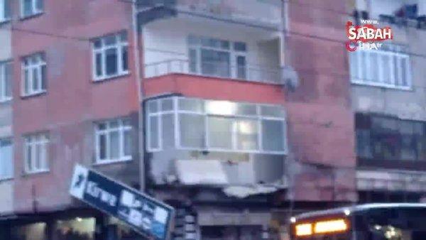 Son dakika! Sultangazi'de bir binanın balkonu çöktü | Video