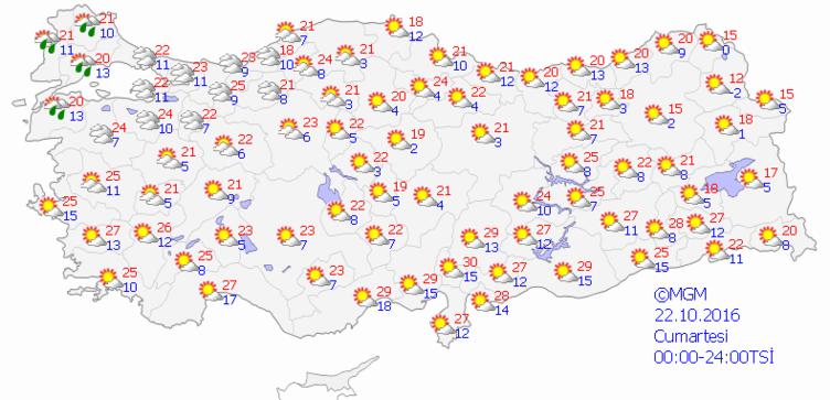 Yurtta 5 günlük hava durumu (22.10.2016)