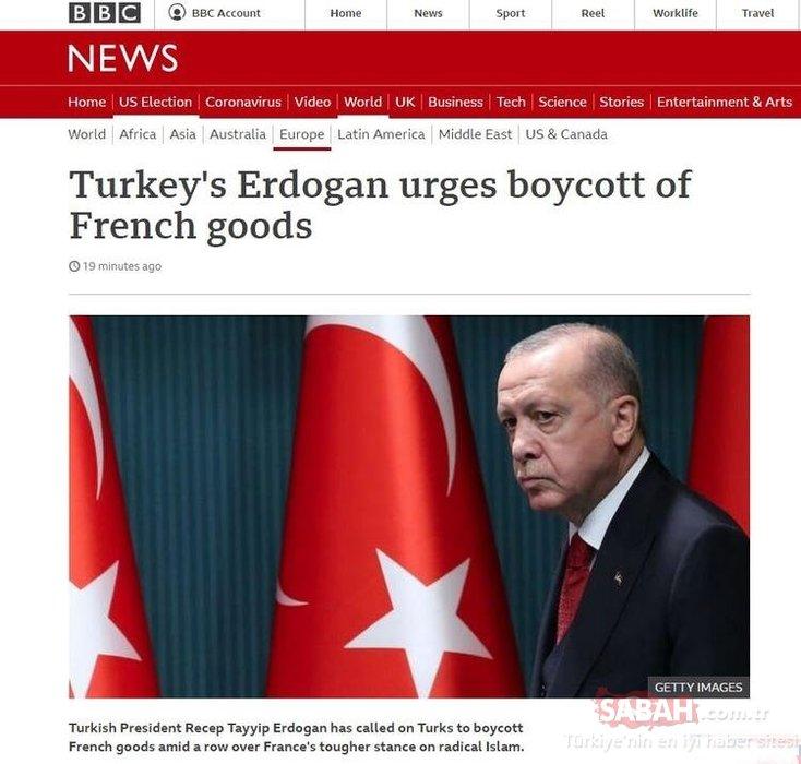 Başkan Erdoğan'ın Fransız mallarına boykot çağrısı dünya basınında! Hepsi son dakika geçti