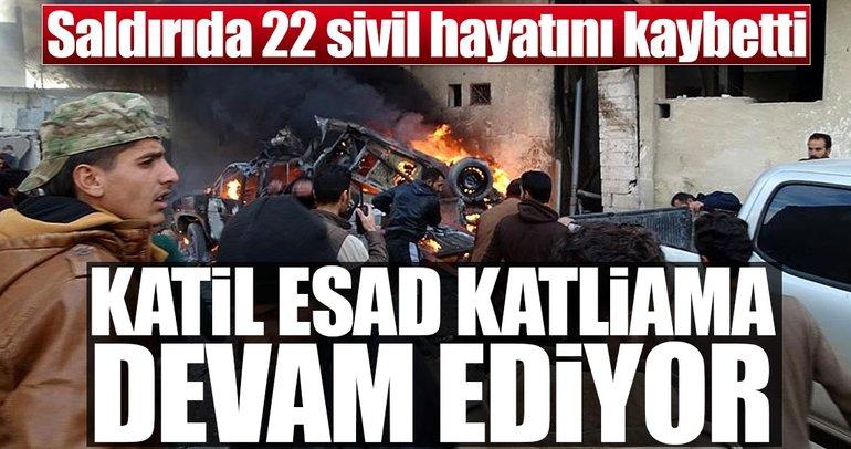 Katil Esad sivil katliamına devam ediyor