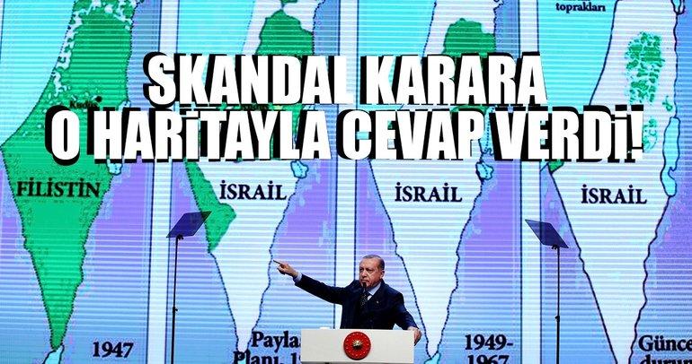 Cumhurbaşkanı Erdoğan, İsrail'in Filistin işgalini haritalarla açıkladı