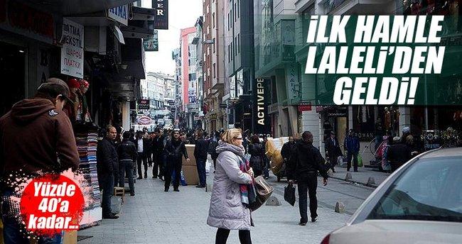 İlk kira indirimi Laleli'den