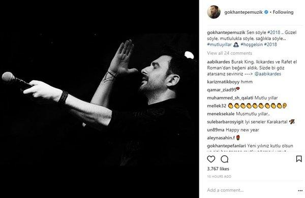Ünlülerin Instagram paylaşımları (01.01.2018)